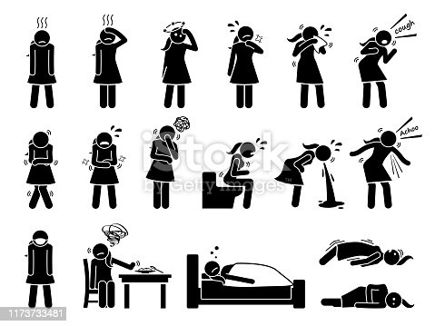 Stick figure pictogram icons depict a female having cold, fever, dizzy, sore throat, coughing, shivering, vomiting, and seizure.