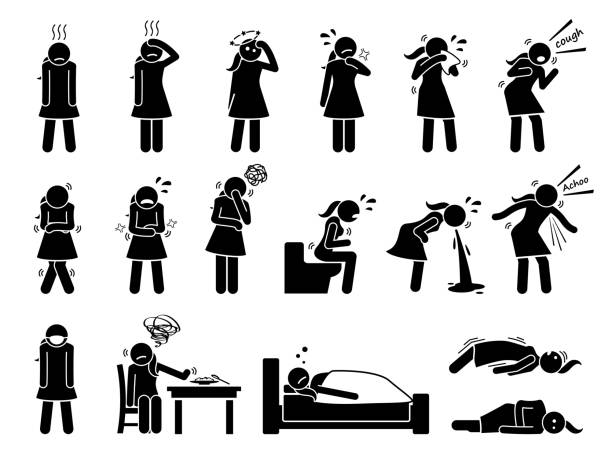 Woman sick, ill, flu, disease, and influenza virus signs and symptoms. Stick figure pictogram icons depict a female having cold, fever, dizzy, sore throat, coughing, shivering, vomiting, and seizure. shaking stock illustrations