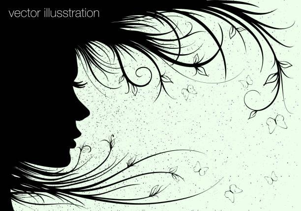 frau sihouette, blumen-frisur - pflanzenhaar stock-grafiken, -clipart, -cartoons und -symbole