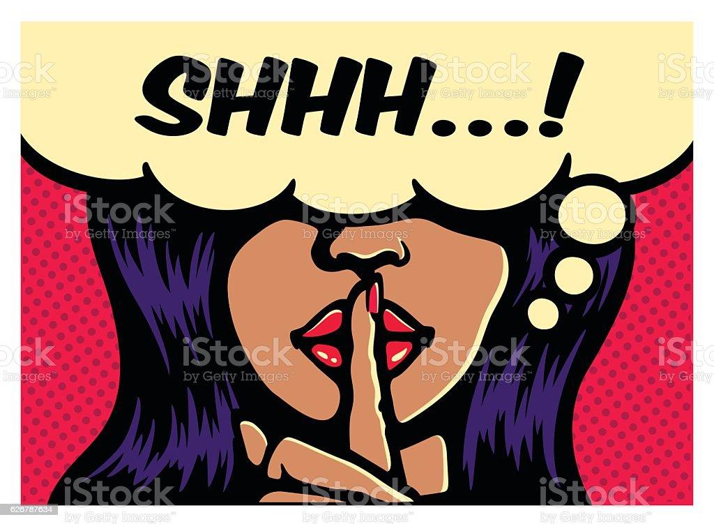 Woman silence gesture finger on lips pop art vector illustration vector art illustration