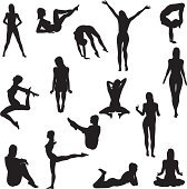Collection of 15 woman silhouettes.