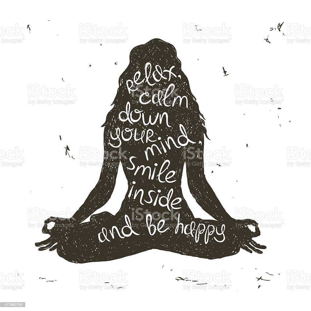 Woman silhouette sitting in lotus pose of yoga. vector art illustration