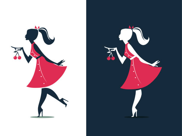 Woman Silhouette with cherries - Logo Design - illustrazione arte vettoriale