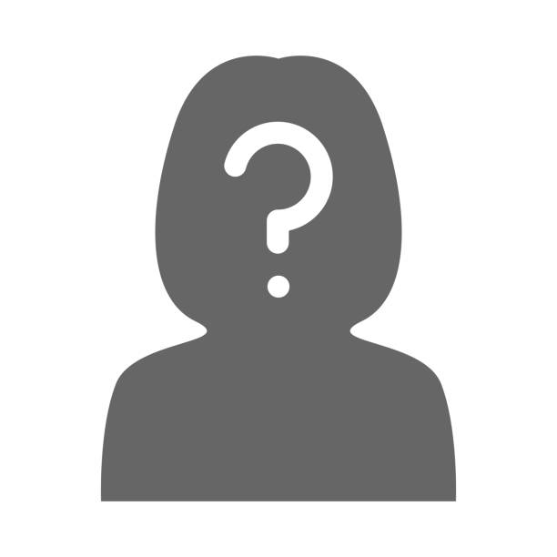 Woman silhouette with question mark on her head. Vector icon Woman silhouette with question mark on her head. Vector icon. unrecognizable person stock illustrations