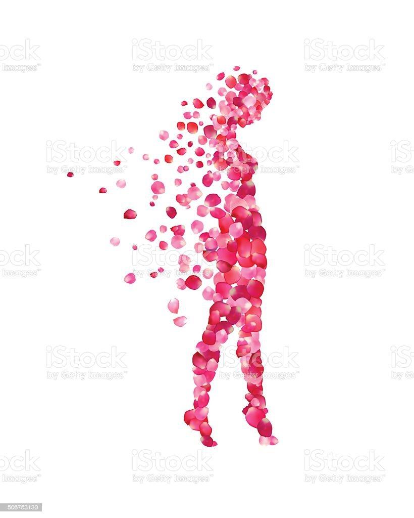 woman silhouettes of rose petals vector art illustration