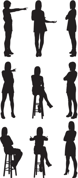 Woman silhouettes pointing and gesturing