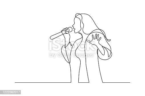 Singer in continuous line art drawing style. Young woman holding microphone and singing. Black linear sketch isolated on white background. Vector illustration