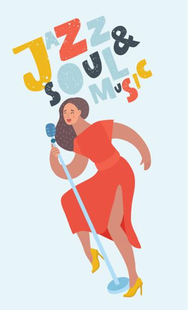 stockillustraties, clipart, cartoons en iconen met vrouw zangeres met mic - zanger