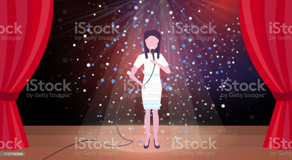 woman singer with microphone performing on concert scene stage colorful glitter lights red curtains horizontal female cartoon character full length flat - arte vettoriale royalty-free di Adulto