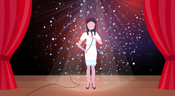 Woman Singer With Microphone Performing On Concert Scene Stage Colorful Glitter Lights Red Curtains Horizontal Female Cartoon Character Full Length Flat - Immagini vettoriali stock e altre immagini di Adulto