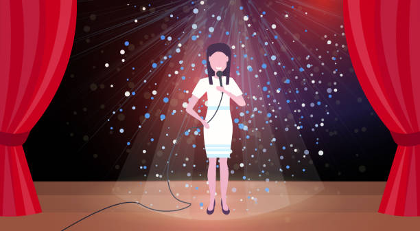 illustrazioni stock, clip art, cartoni animati e icone di tendenza di woman singer with microphone performing on concert scene stage colorful glitter lights red curtains horizontal female cartoon character full length flat - theatre full of people stage