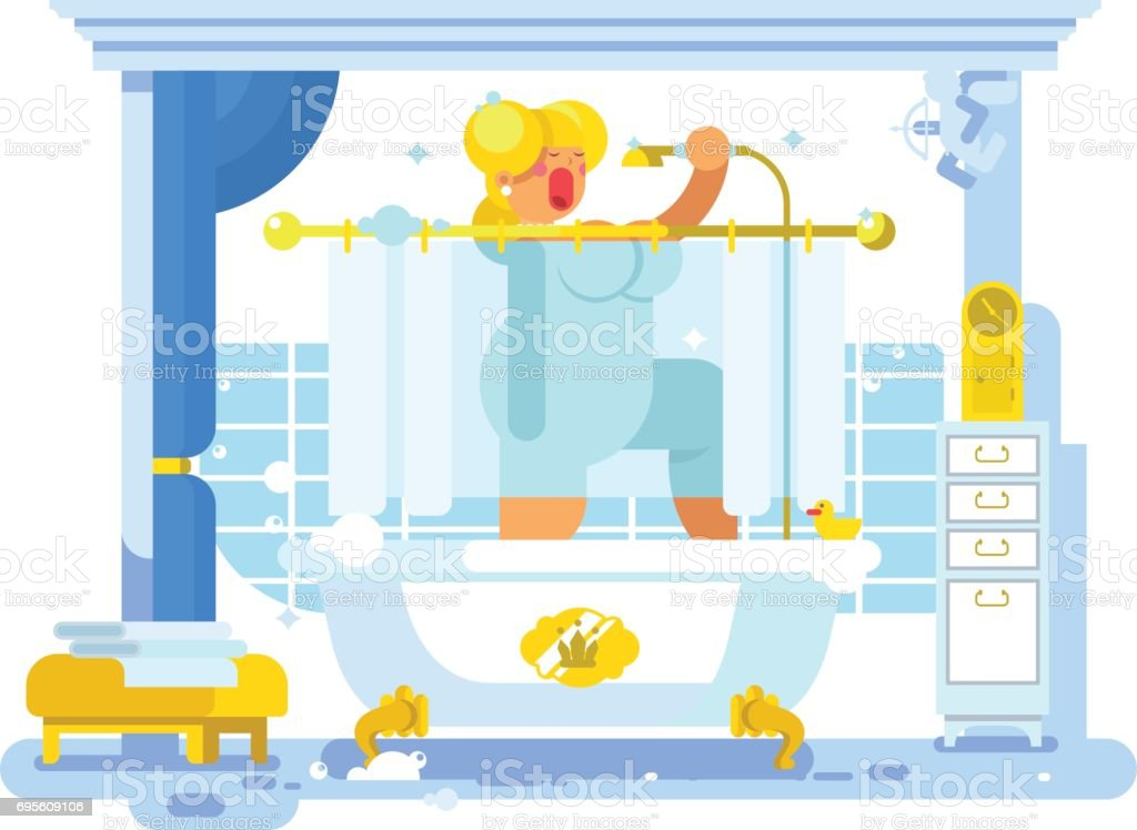 Woman singing in the shower - illustrazione arte vettoriale