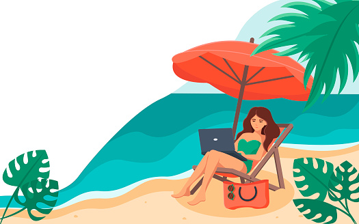 A woman sits on a chaise longue with a laptop on her lap, under an umbrella, against the sea. The concept of freelancing, online training , social networks.