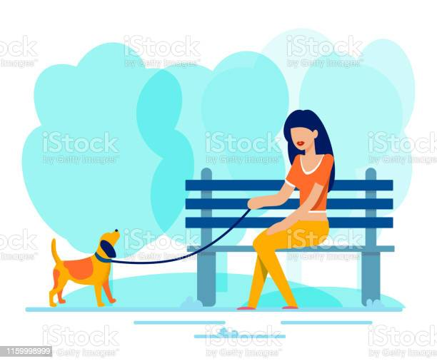 Woman sits on bench along walking dog in park vector id1159998999?b=1&k=6&m=1159998999&s=612x612&h=glbalrg85xmrljawphlgrdgei57ocra rvbyb xhktg=