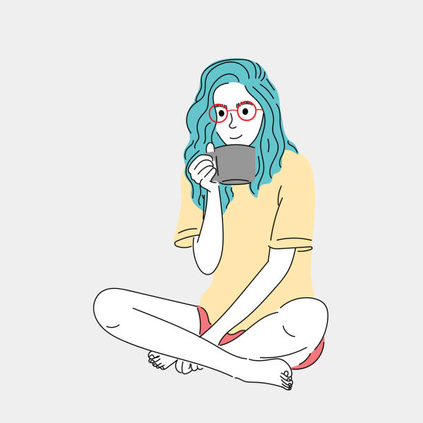 Woman sitting and drinking coffee at her house during the morning time.Doodle art concept,illustration painting vector art illustration