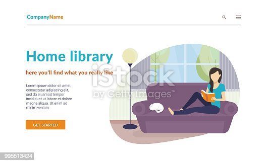 Woman sitting at home on the sofa and reading a book. Flat concept vector website template and landing page design of home library or distance learning sevices and educational startup