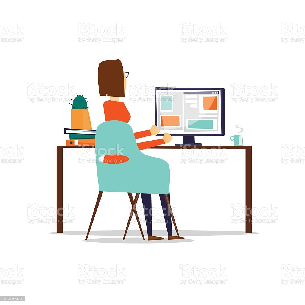 Woman sitting at the table and working on the computer. vector art illustration