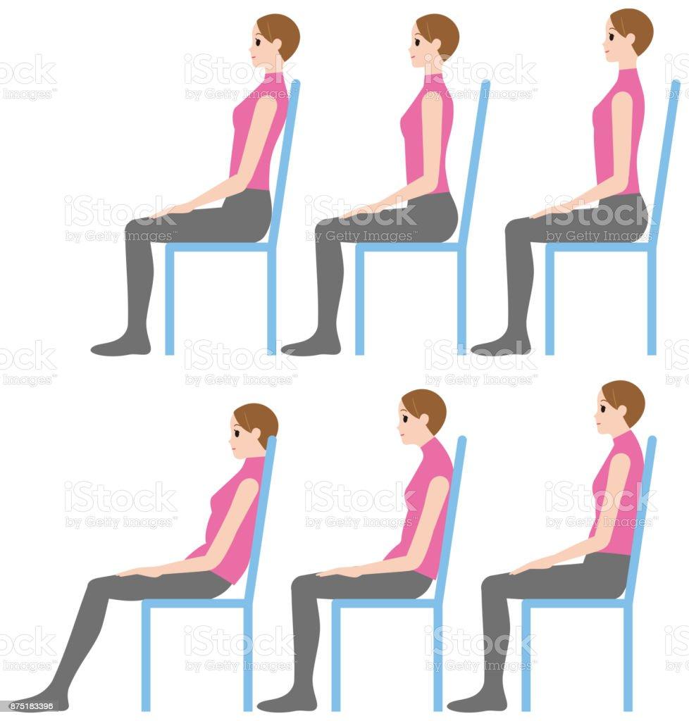 Una mujer sentada una buena postura y una mala postura for Sillas para una buena postura