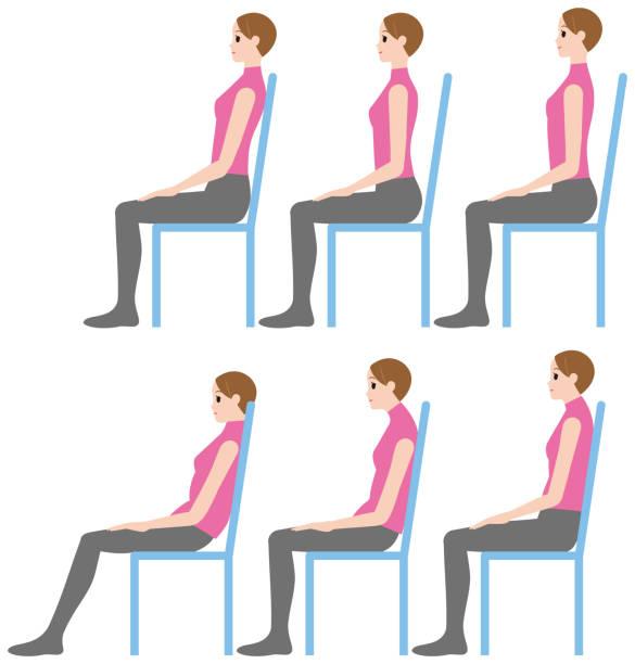 eine frau sitzt, gute körperhaltung und fehlhaltungen - stuhllehnen stock-grafiken, -clipart, -cartoons und -symbole