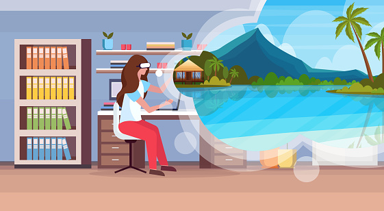 woman sitting home office workplace wearing digital glasses virtual reality tropical sea beach seascape summer vacation headset vision concept living room interior horizontal