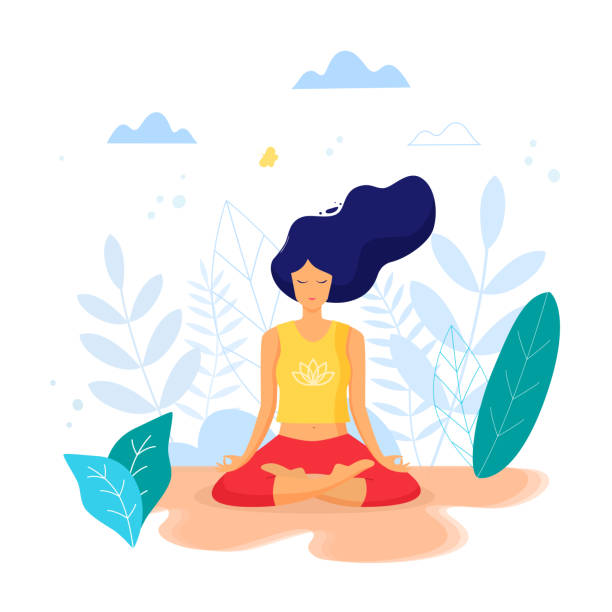 Woman sitting in lotus position practicing meditation. Yoga girl Vector trendy illustration. meditation stock illustrations
