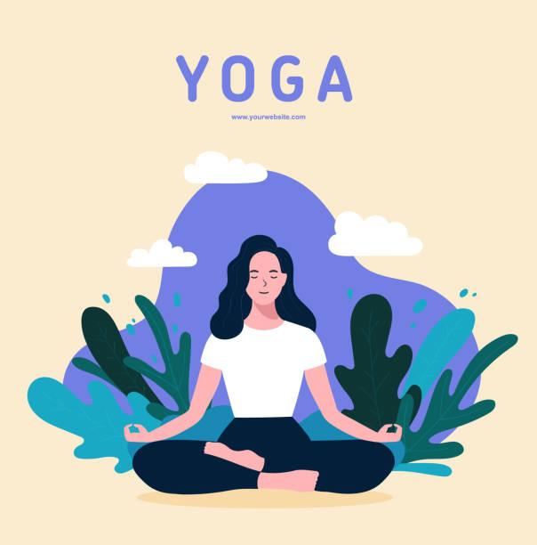 illustrazioni stock, clip art, cartoni animati e icone di tendenza di woman sitting in lotus position practicing meditation. yoga girl vector trendy illustration. - woman portrait forest