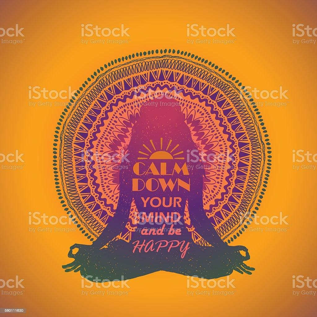 Woman Sitting In Yoga Lotus Pose And Mandala Design. vector art illustration