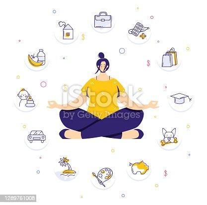 istock Woman sitting in yoga lotus pose and meditating. Human needs icons. Life balance concept. 1289761008