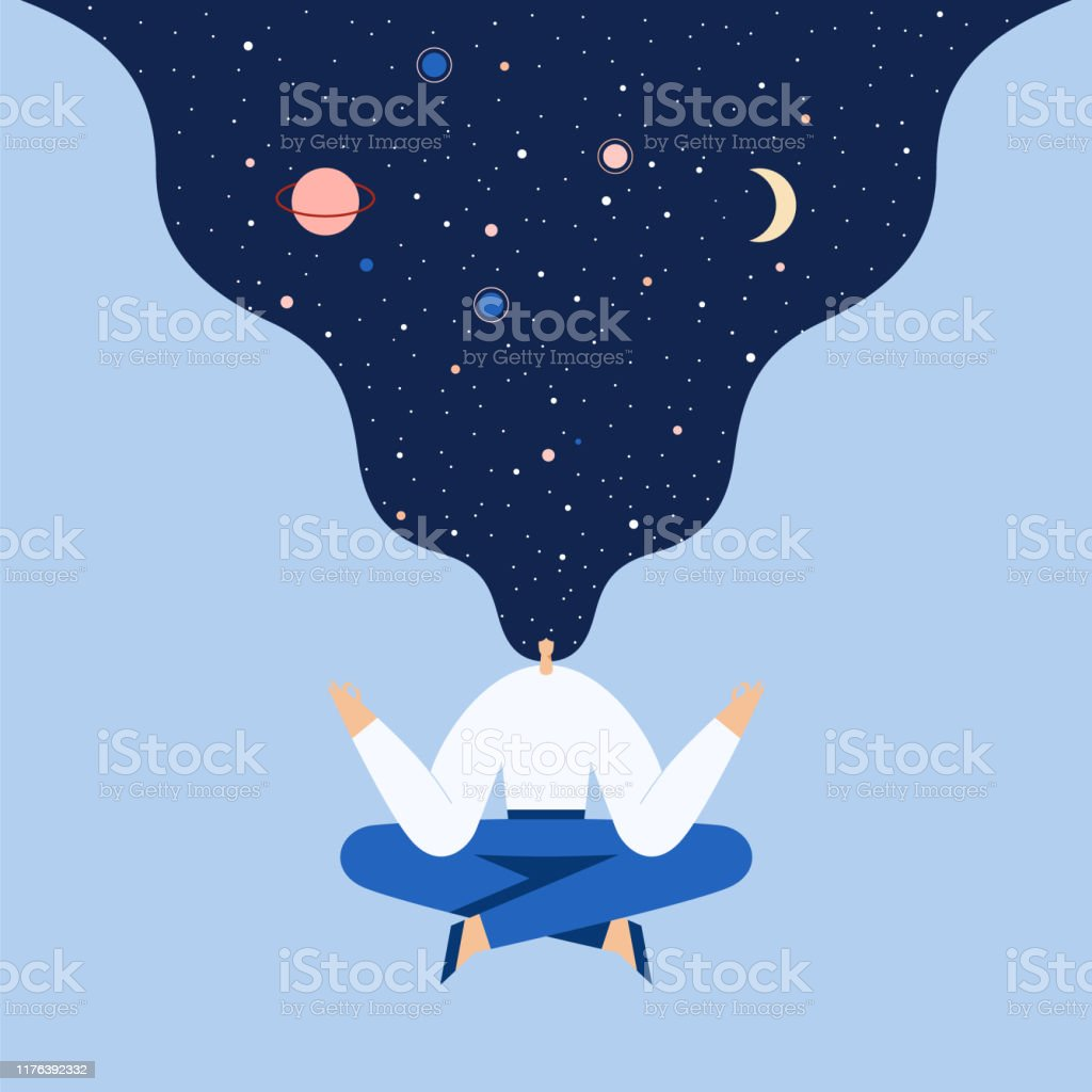 Vrouw zittend in yoga Lotus pose. Nacht sterrenhemel en maan in haar, ruimte verkennen, universele harmonie. Vector platte illustratie. - Royalty-free Alleen volwassenen vectorkunst