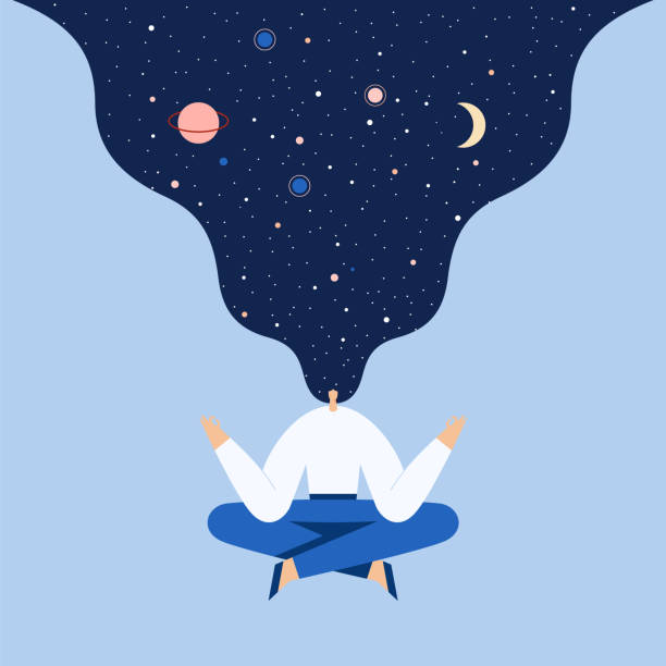 Woman sitting in yoga lotus pose. Night starry sky and moon in hair, space exploring, universal harmony. Vector flat illustration. Woman sitting in yoga lotus pose. Modern cartoon female character doing asana and meditate. Night starry sky and moon in hair, space exploring, universal harmony. Vector flat illustration. dreamlike stock illustrations