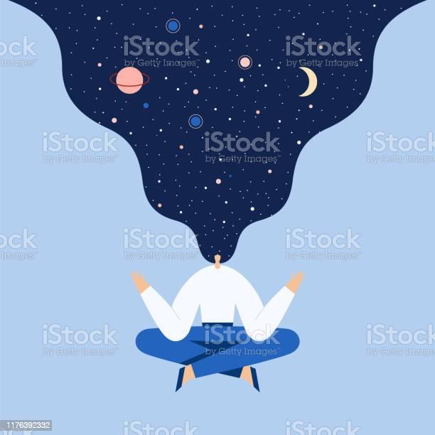 Vrouw Zittend In Yoga Lotus Pose Nacht Sterrenhemel En Maan In Haar Ruimte Verkennen Universele Harmonie Vector Platte Illustratie Stockvectorkunst en meer beelden van Alleen volwassenen