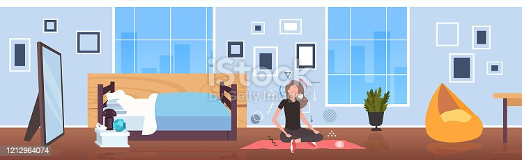 woman sitting lotus pose girl breathing oxygen and carbon dioxide transport cycle gas exchange concept bedroom interior horizontal full length vector illustration