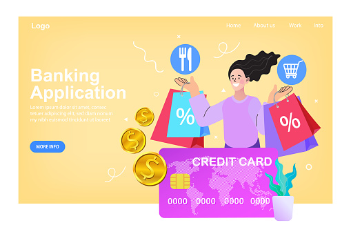 Woman sitting near a big credit card and mobile phone. Internet digital store scene with women shopping E commerce. Vector illustration.