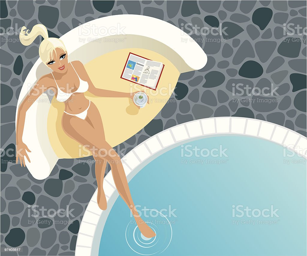 Woman Sitting Near Pool with Drink and Magazine vector art illustration