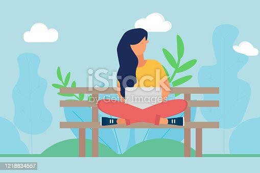 Girl on a bench in the park working on a laptop in spring day. A woman sitting with crossed legs on the bench. Working outdoor concept. Flat design vector illustration