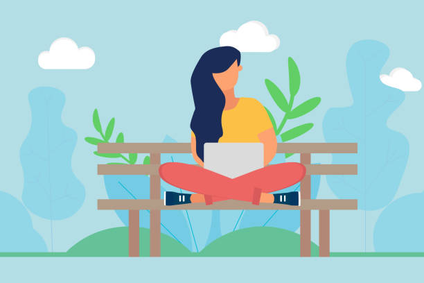 bildbanksillustrationer, clip art samt tecknat material och ikoner med kvinna sitter på bänk i parken och använder laptop på vårdagen - korslagda ben