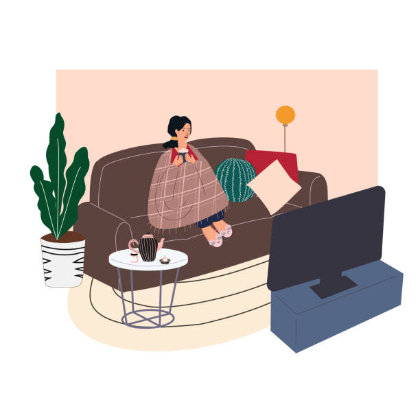Woman sitting on cozy sofa. Young girl wrapped in blanket  and drinking hot coffee or tea, watching movie and relaxing after work. Trendy interior in Scandinavian style.  Cartoon vector illustration. Woman sitting on cozy sofa. Young girl wrapped in blanket  and drinking hot coffee or tea, watching movie and relaxing after work. Trendy interior in Scandinavian style. Cartoon vector illustration. watching tv stock illustrations