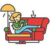 Woman sitting on home sofa reading book with tea and lamp concept. Line vector icon. Editable stroke. Flat linear illustration isolated on white background