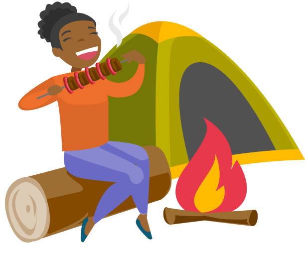 Woman sitting on log near campfire in the camping vector art illustration