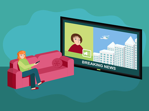 Woman sitting on red sofa, watching TV news, listen to the announcer. Vector illustration.