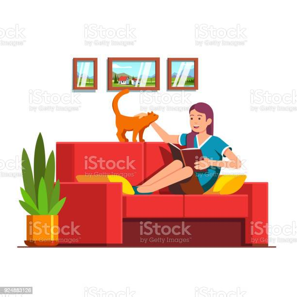 Woman sitting on sofa reading book petting cat vector id924883126?b=1&k=6&m=924883126&s=612x612&h=kfwvalfubz5fixcuvxnqgesxzarbc r10m3hrjpwqe0=