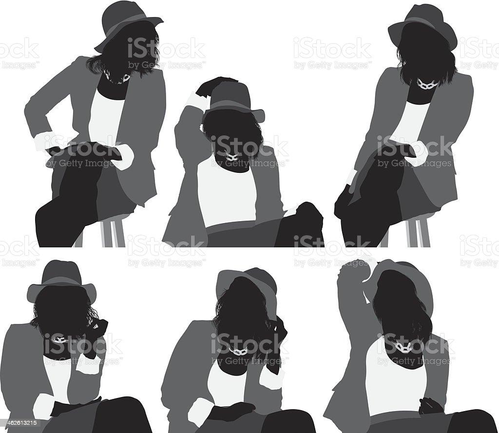 Woman sitting on stool royalty-free stock vector art