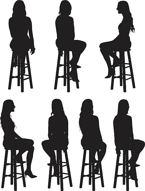 bildbanksillustrationer, clip art samt tecknat material och ikoner med woman sitting on stool - sitta