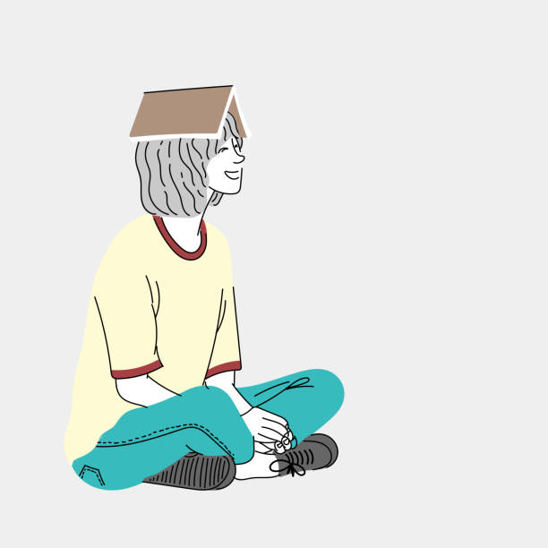 Woman sitting on the floor with a favorite book on the head.Doodle art concept,illustration painting vector art illustration