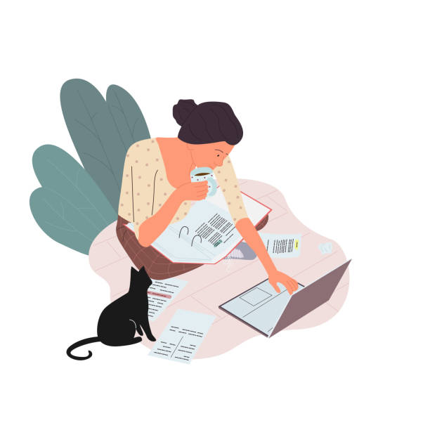 frau sitzt auf dem boden und arbeitet an einem computer und papiere mit einer tasse heißen tee. - cozy stock-grafiken, -clipart, -cartoons und -symbole