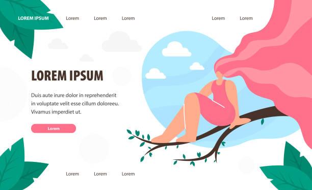 illustrazioni stock, clip art, cartoni animati e icone di tendenza di woman sitting on tree branch landing page template - woman portrait forest