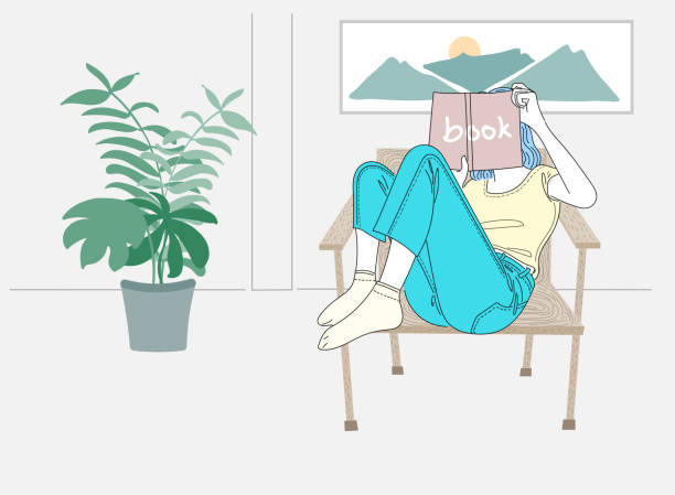 Woman sitting reading at home asking for herself on a holiday.Doodle art concept,illustration painting vector art illustration