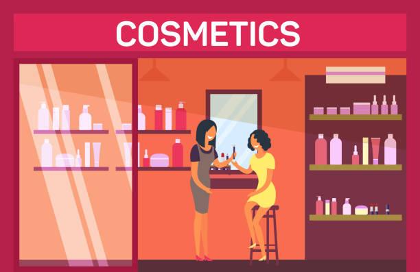 stockillustraties, clipart, cartoons en iconen met vrouw zitten met lippenstift bij cosmetische shop - warenhuis