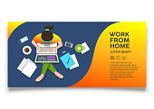 Woman sitting work computer from home, top view design colorful background, vector illustration