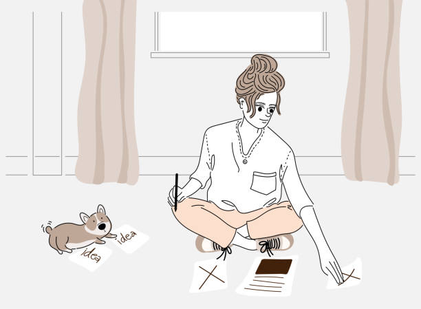 A woman sitting writing her personal work at home and her dog.Doodle art concept,illustration painting vector art illustration